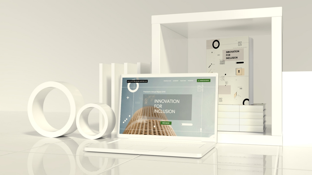 Mockup of Benilde's Website and Annual Report Book